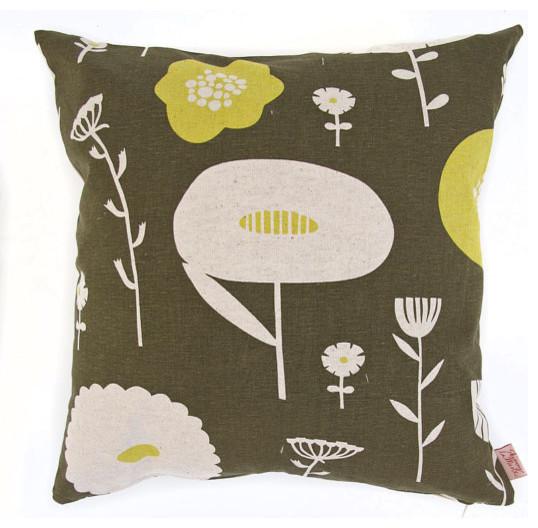 Wild Flowers Cushion Cover,  Lemon Humbug by Skinny laMinx contemporary-decorative-pillows