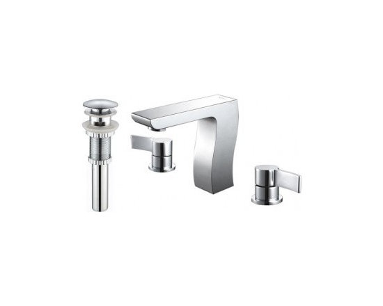 Kraus Sonus Three-Hole Basin Faucet And Pop Up Drain With Overflow Chrome - At Kraus, we use various elements of design to impress and make a statement in order to turn your private space into a truly unique one
