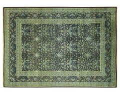 New Handmade William Morris 9x12 Hand Knotted Persian Wool Rug Black/Green MC114 modern-rugs