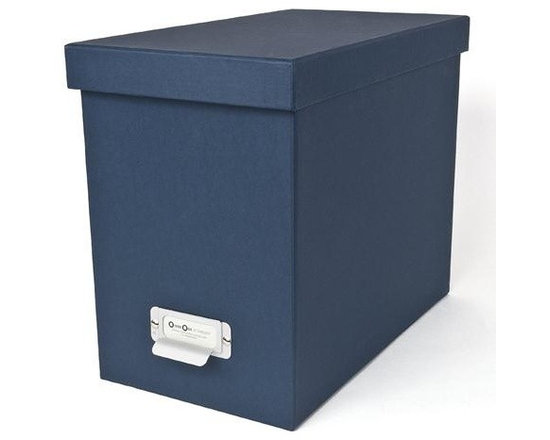 Bigso - Bigso Basix Desktop File Box - Navy - A file box with color and style? We're sold. Snag one (two or three) of our navy Basix Desktop File Box's to whip your desk into shape. Please just pay for them first. Accomodates letter size hanging files, sold seperately. Metal label holders remind you of what's stored inside; pull tabs help you pull them from the shelf.