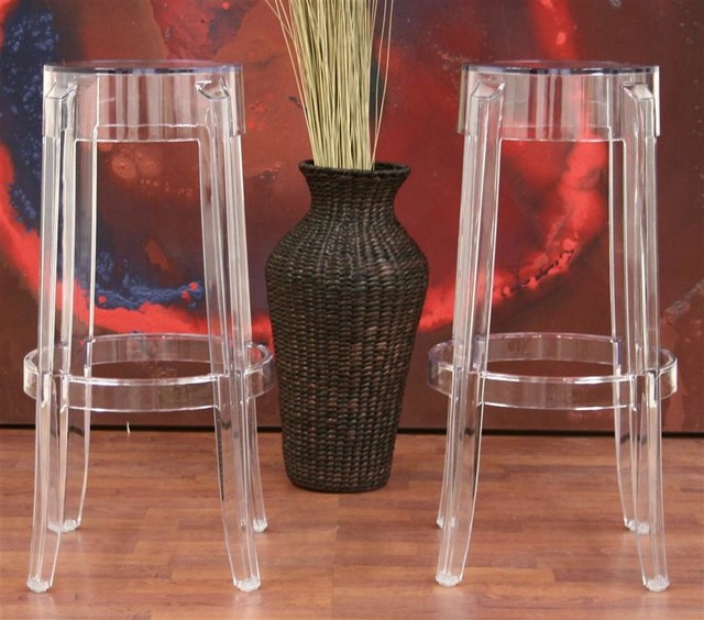 Baxton Studio Lia Acrylic Counter Stool In Clear Set Of