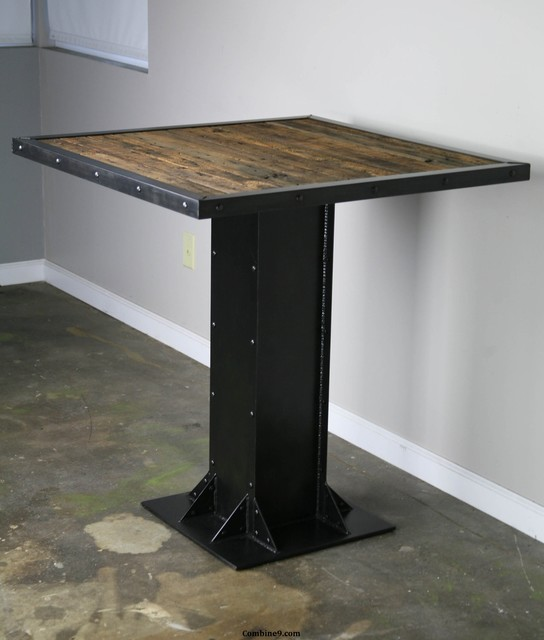 bistro or dining table modern industrial mid century i beam rustic