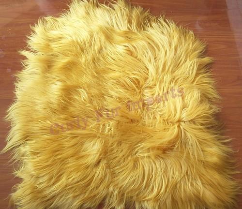 Yellow Goat Fur Pelt / Rug