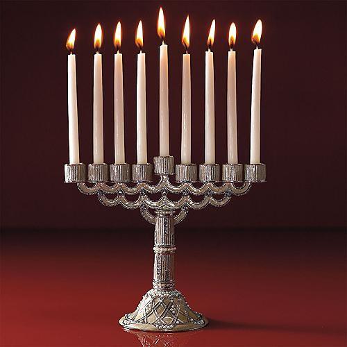 Off white menorah hanukkah gifts traditional holiday for Hanukkah home decorations