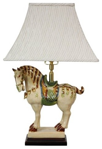 26 Inch Porcelain Horse Lamp asian table lamps