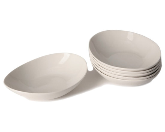 Red Vanilla - Whisper White Coupe Bone China Pasta Bowls (Set of 6) - Serve your guests in style with these Whisper White Couple pasta bowls,constructed of sturdy and beautiful bone china. The unique,oblong shape and versatile color of the bowls will complement existing dish sets beautifully.