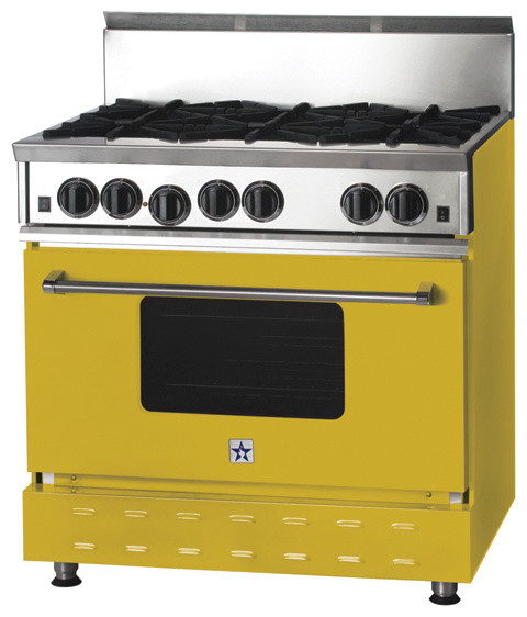 "36"" BlueStar Range in Lemon Yellow (RAL 1012) modern-gas-ranges-and-electric-ranges"