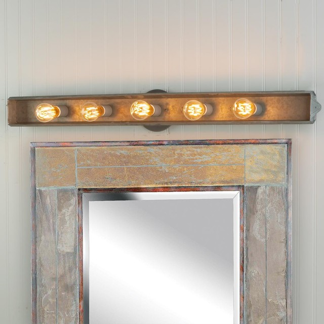 Vanity Lights Bathroom : Galvanized Rustic Vanity Light - Bathroom Vanity Lighting - by Shades of Light