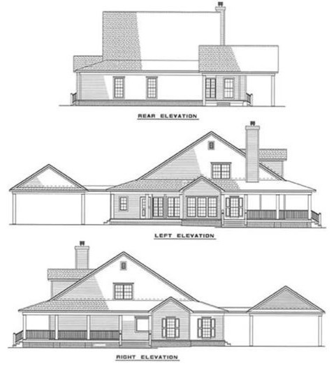 Southern style house plan # 153-1454 traditional-exterior-elevation