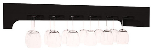 Stemware Glass Rack with Arched Panels in Redwood, Black contemporary-wine-racks