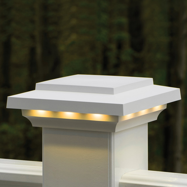 Outdoor Post Cap Lights: AZEK Rail Lighted Island Post Cap