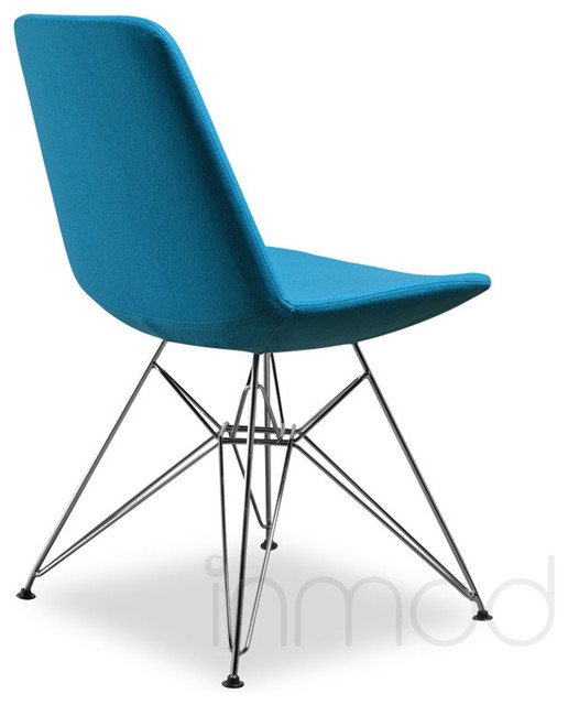 Vino ceb dining chair set of 2 turquoise wool fabric modern dining chairs by inmod - Turquoise upholstered dining chair ...