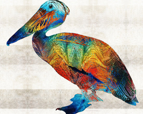 Animals, Fish and Birds - Colorful Pelican Art By Sharon Cummings