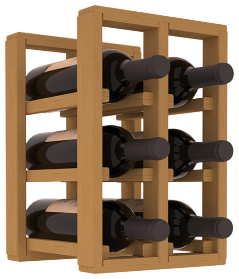 6 Bottle Counter Top/Pantry Wine Rack in Pine, Oak Stain contemporary-wine-racks