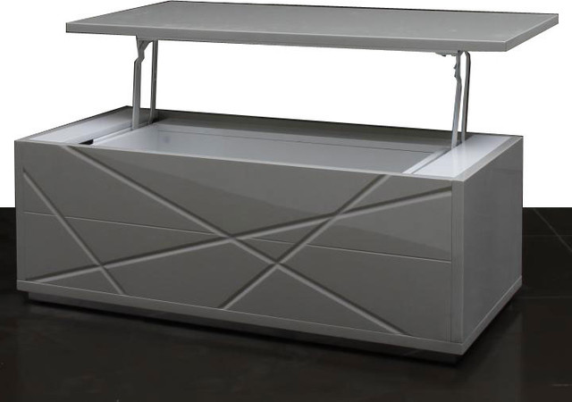 Modern Gray Lacquer Convertible Coffee Table With Storage Kaga Modern Coffee Tables Other