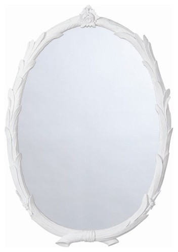 Arteriors Laurel Chalk White Oval Mirror contemporary-wall-mirrors