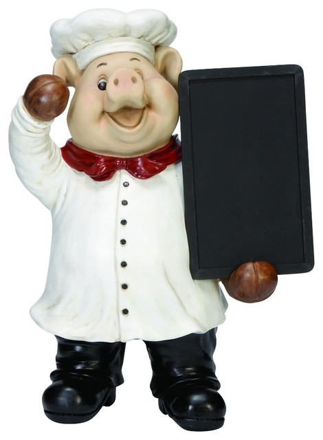 Delightful smiling pig chef holding chalkboard tray statue