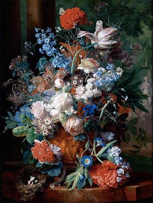 Bouquet of Flowers Against a Park Landscape | Huysum | Canvas Print prints-and-posters