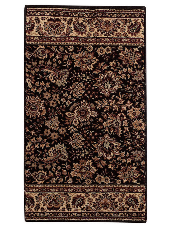 """Satin Tabriz runner roll rug in Black Cream - The crisp, traditional designs, fashion forward colorations and extra tight packed pile (1/2"""" thick) will wear like iron and give years and years of superior service."""