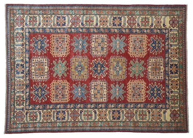 Red Oriental Rug Hand Knotted Rug Kazak Sh7906 traditional-rugs