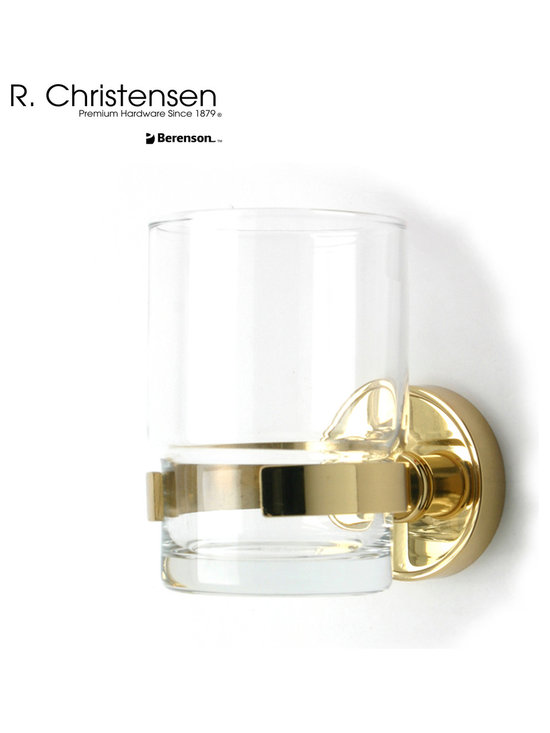 2216US3 Polished Brass Tumbler Holder by R. Christensen - 3-1/2 inch long contemporary style tumbler holder by R. Christensen in Polished Brass.