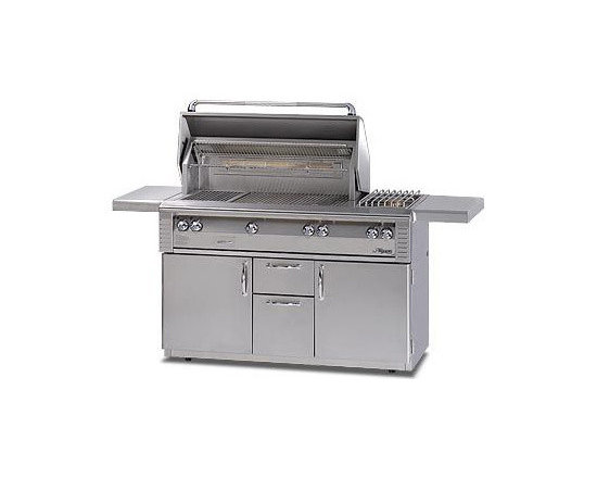 Alfresco 56'' Lx2 Grill On Cart, Stainless Steel Liquid Propane | ALX256SZRFG-LP - Three high-temp stainless steel main burners producing 82,500 BTUs. Optional Sear Zone with 27,500 BTU ceramic infrared burner.
