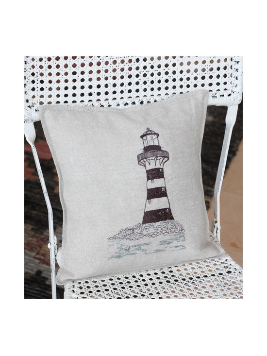 Coral And Tusk Lighthouse Pillow -