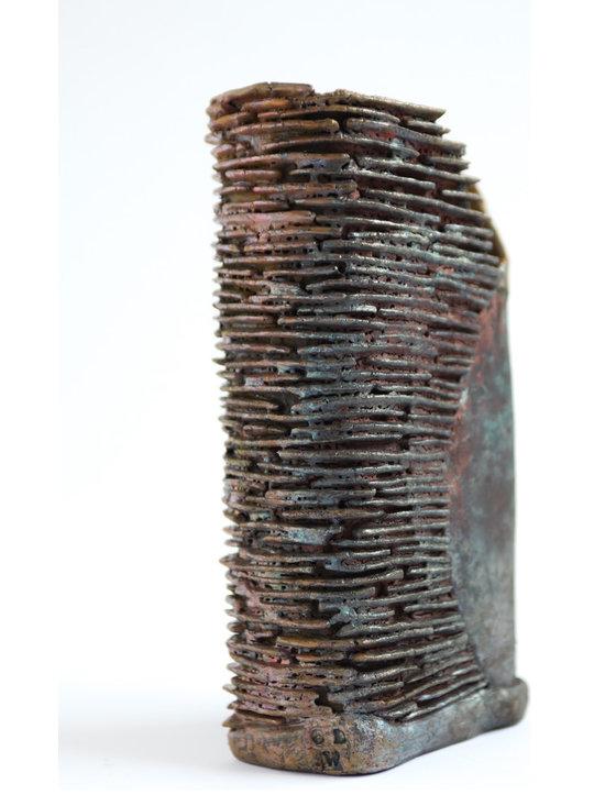 Beauty is in the Eye... - Medium Raku fired rectangular stoneware textured vessel, not suitable to hold liquids. Sam Ryley