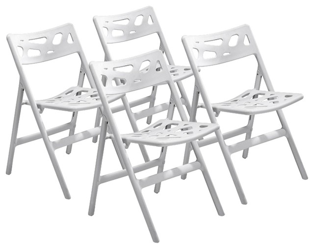 Set of 4 Zuo Sweets White Outdoor Folding Chairs - contemporary ...