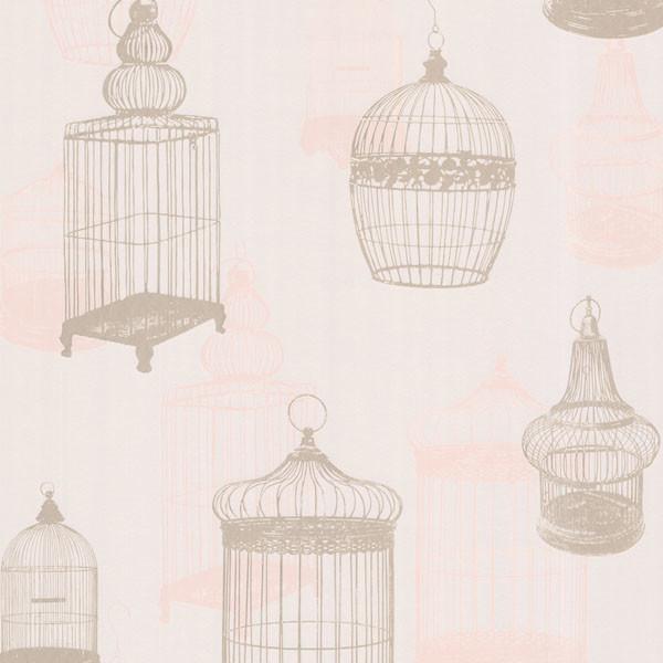 Avian Taupe Bird Cages Wallpaper. - Modern - Wallpaper - by Brewster ...