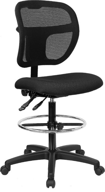 Mid-Back Mesh Drafting Stool with Black Fabric Seat by Flash Furniture contemporary-task-chairs