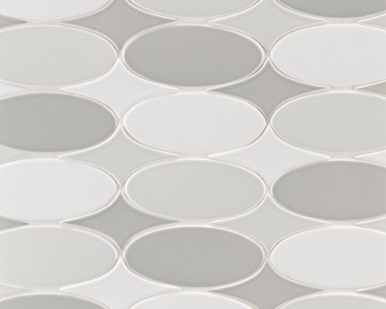 "Ceramic - ANN SACKS Gotham 2"" x 3-3/4"" oval star ceramic field and 2"" x 5"" oval ceramic field in twilight gloss, silver grey gloss and kohler white gloss"