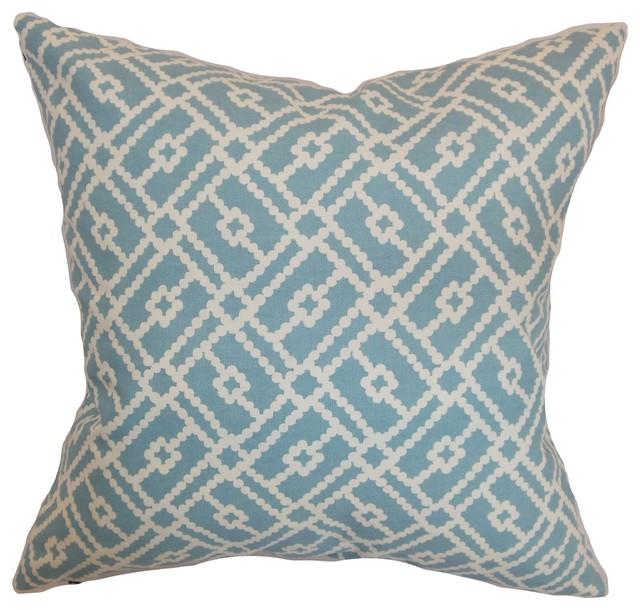 majkin geometric pillow turquoise 18 x18 contemporary