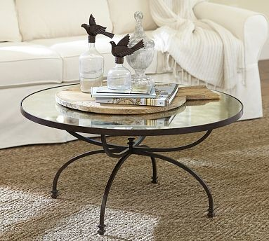 Willow Antique Mirror Metal Coffee Table Aged Bronze Finish Traditional Coffee Tables