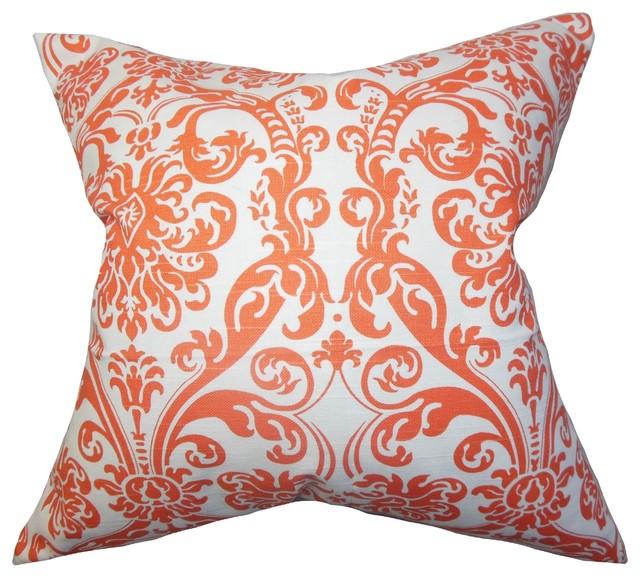 "Saskia Damask Pillow Orange 18"" x 18"" traditional-decorative-pillows"