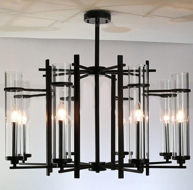 Modern Clear Glass Shades And Black Metal Chandelier