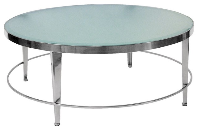 Allan Copley Designs Sarah 42 Inch Round Cocktail Table W Frosted Glass Top In Modern