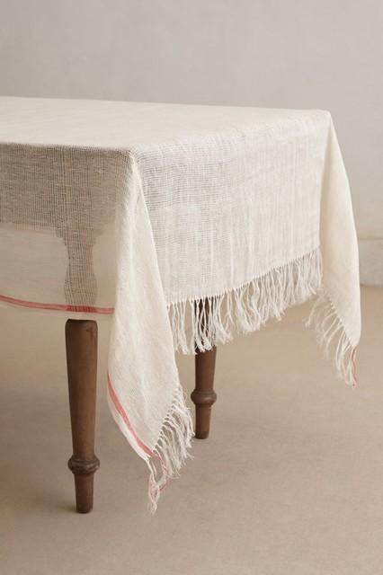 Coral Stripe Tablecloth contemporary-tablecloths