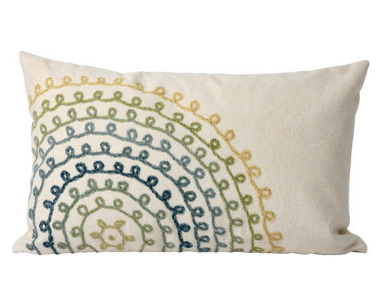 """Trans-Ocean Outdoor Pillows - Trans-Ocean Liora Manne Ombre Threads Cool - 12"""" x 20"""" - Designer Liora Manne's newest line of toss pillows are made using a unique, patented Lamontage process combining handmade artistry with high tech processing. The 100% polyester microfibers are intricately structured by hand and then mechanically interlocked by needle-punching to create non-woven textiles that resemble felt. The 100% polyester microfiber results in an extra-soft hand with unsurpassed durability."""