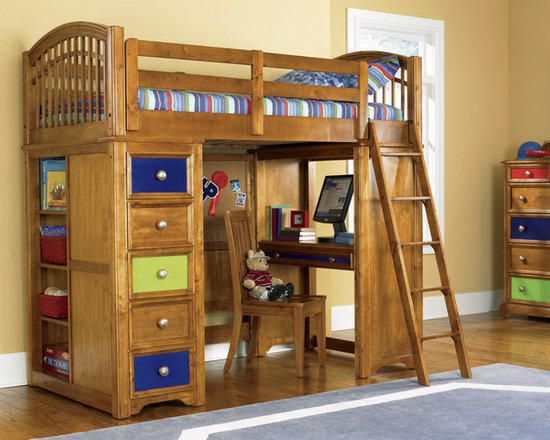 Bearrific Loft Drawer and Desk Bunk Bed - The bunk bed features a variety of changeable options including changeable wood-tone and painted drawer fronts. The bunk bed features a variety of changeable options including changeable wood-tone and painted drawer fronts. The Bed has an arched top crown, bolt-on rail system, vertical slats, five drawers, dust proof bottoms, adjustable shelves, Cocoa finish.