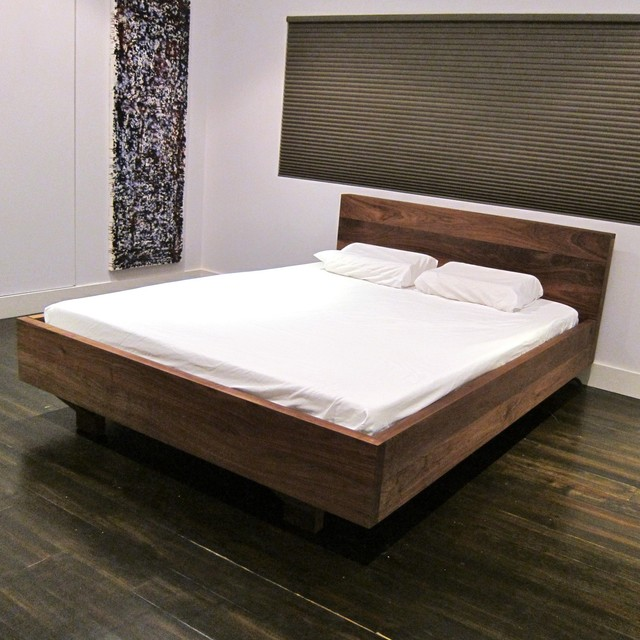 Floating Walnut Platform Bed - Modern - Platform Beds - los angeles ...