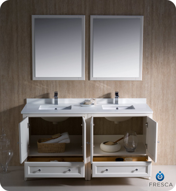 "60"" Oxford Double Vanity - White (FVN20-3030AW) modern"