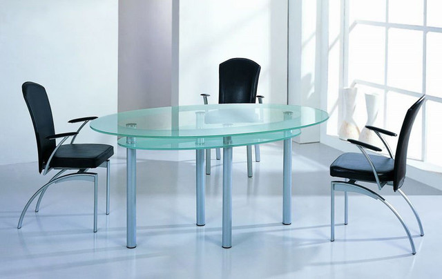 High End Oval Glass Top Furniture Dining Set contemporary dining tables