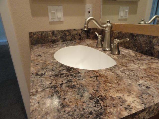 Brushed Nickel Sink Fixture Traditional Vanity Tops