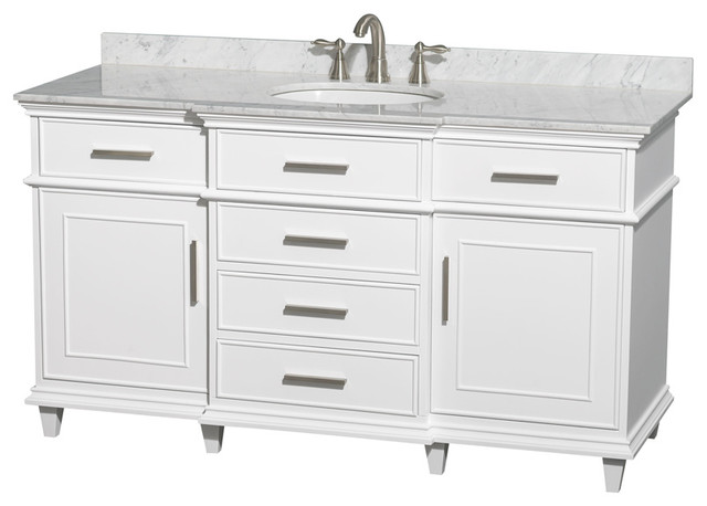 "Wyndham Collection 60"" Berkeley White Single Vanity & Carrera Marble Top modern-bathroom-vanities-and-sink-consoles"