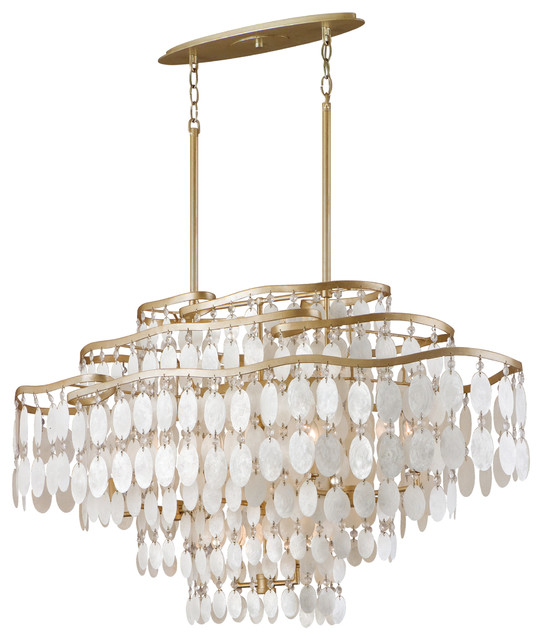 Dolce Capiz Shell And Crystal Oval Chandelier Pendant