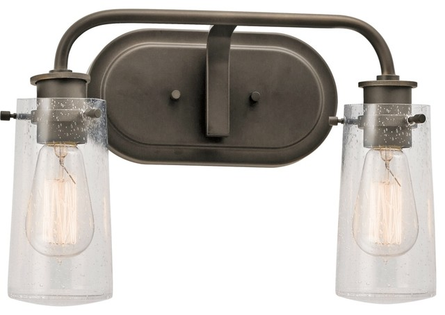 Rustic Vanity Lights Bathroom : 45458OZ Braelyn Lodge/Country/Rustic 2-Light Bath Lighting, Olde Bronze - Industrial - Bathroom ...
