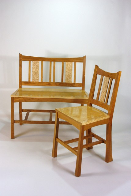 Irdseye Maple Counter Height Dining Chairs And Bench