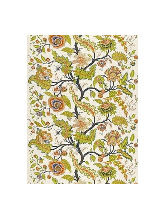 Sinhala  Linen Print in Bittersweet - The traditional tree of life featured in Sinhala Linen Print is  from an antique French indienne printed cotton fabric.  By Martyn Bullard for F. Schumacher and comes in  5 color-ways. Two Yard  Minimum!