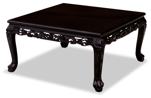 Rosewood Imperial Dragon Motif Square Coffee Table Asian Coffee Tables By China Furniture